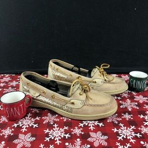 Sperry Angelfish Boat Gold Glitter Womans Sz9M